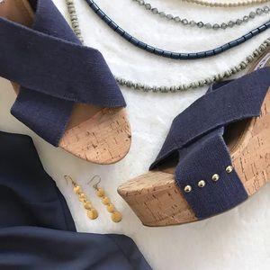 NWOB Steve Madden | Navy Wedge Sandals | Sz 10